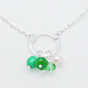 Green turquoise peridot silver necklace