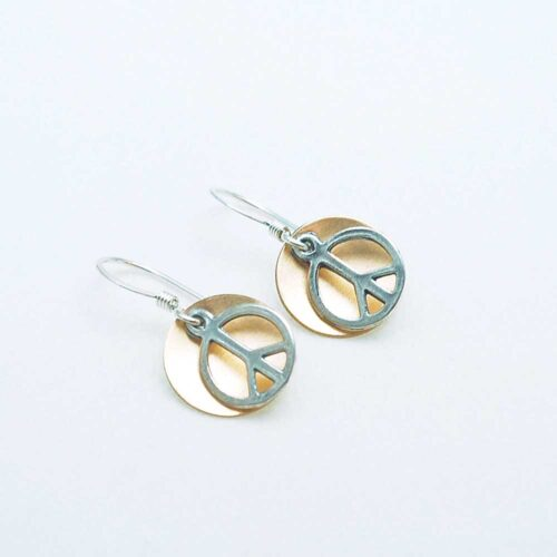 Brass and Sterling Peace Sign Earrings