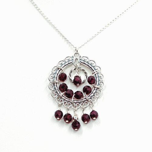 handmade sterling silver garnet necklace