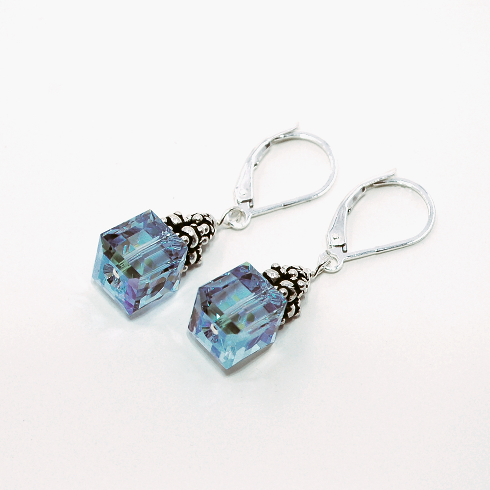 28e9180f4c940 CE16AQ-AB Aquamarine AB Crystal Cube Earrings