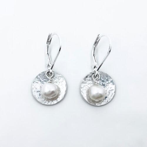 textured silver pearl earrings