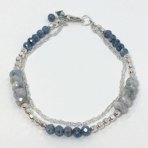 silverite sapphire double silver bracelet