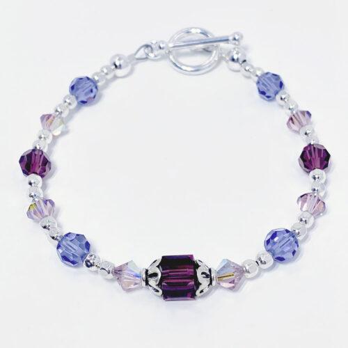 purple crystal toggle bracelet