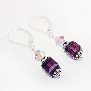 amethyst crystal cube earrings