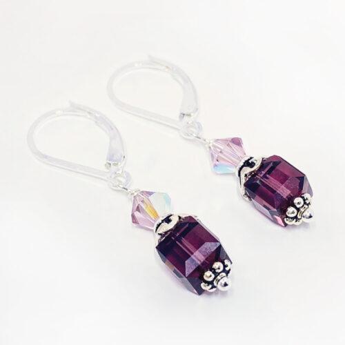 amethyst crystal cube earrings