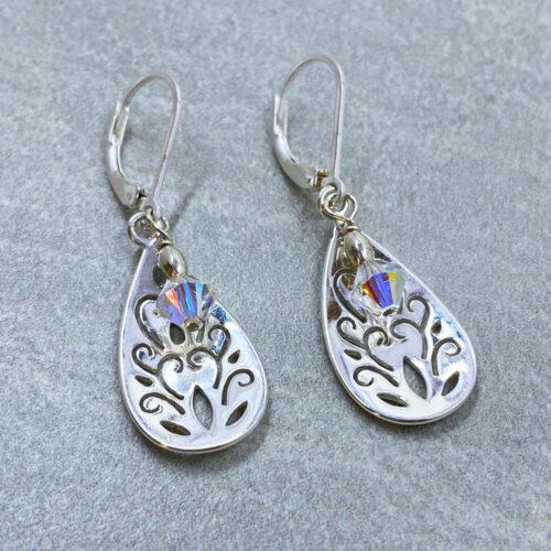 silver crystal filigree earrings