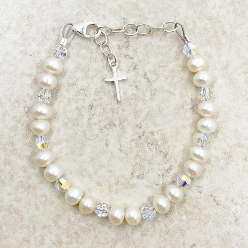 childrens pearl cross bracelet