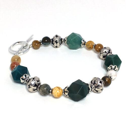 green agate toggle bracelet
