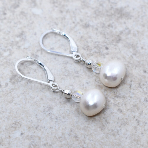 handmade sterling silver freshwater pearl earrings