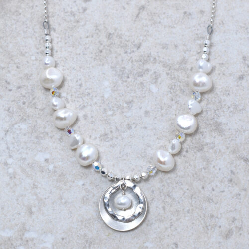 handmade sterling silver freshwater pearl necklace
