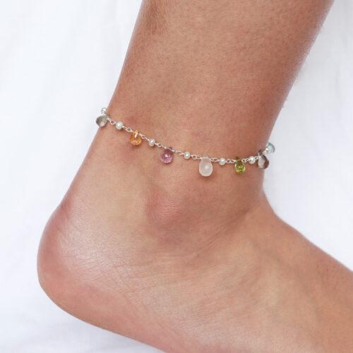 sterling silver gemstone anklet