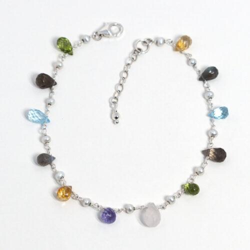 sterling silver multicolor gemstone anklet