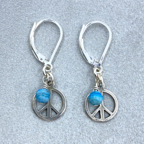 silver peace sign earrings