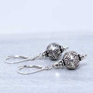 Bali bead sterling silver earrings