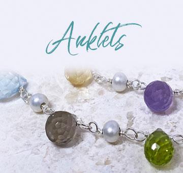 silver gemstone anklets