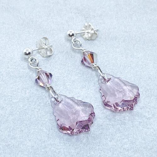 light amethyst crystal silver post earrings