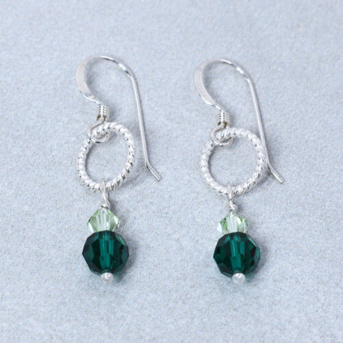 sterling silver emerald crystal earrings