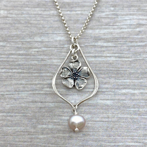 cherry blossom freshwater pearl silver necklace