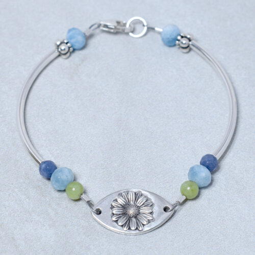 aquamarine sterling silver daisy bracelet