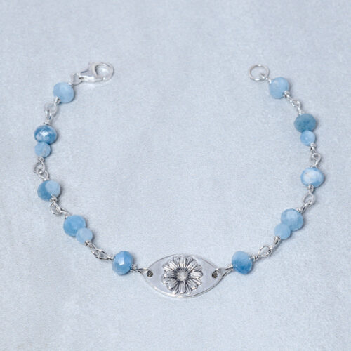 aquamarine silver daisy compassion bracelet