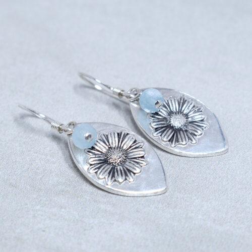 aquamarine silver daisy compassion earrings