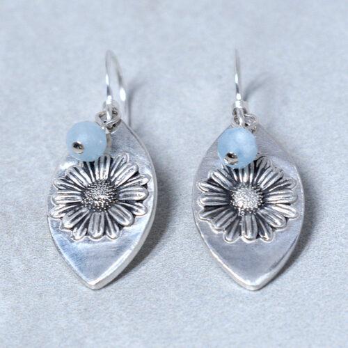 aquamarine silver daisy earrings