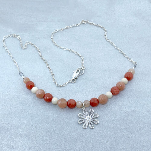 red jade silver daisy flower necklace