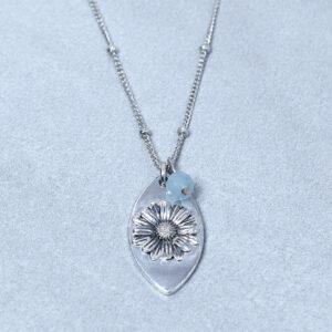 aquamarine silver daisy pendant necklace