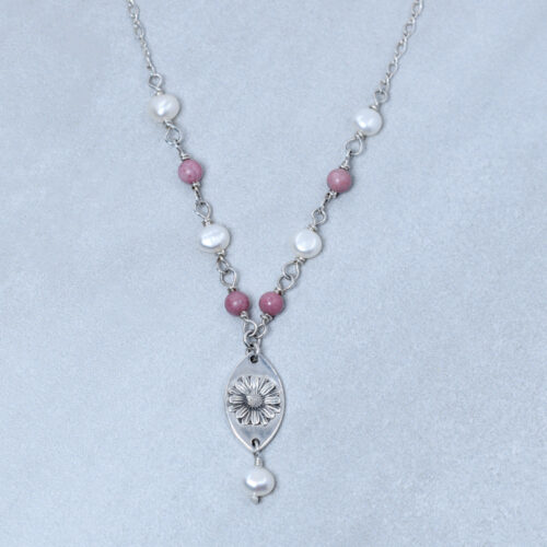 rhodonite and pearl silver daisy necklace