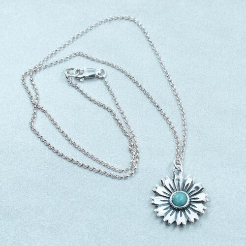 amazonite silver flower pendant necklace