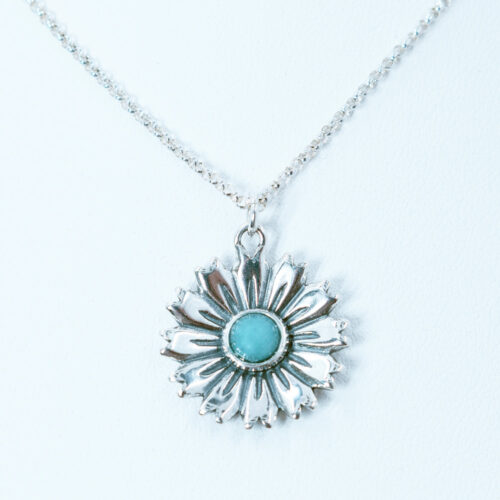 amazonite silver flower pendant