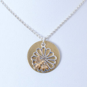 honey bee brass and silver necklace
