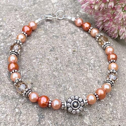 pumpkin spice freshwater pearl silver bracelet