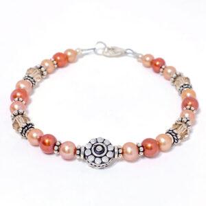 pumpkin freshwater pearl silver bracelet